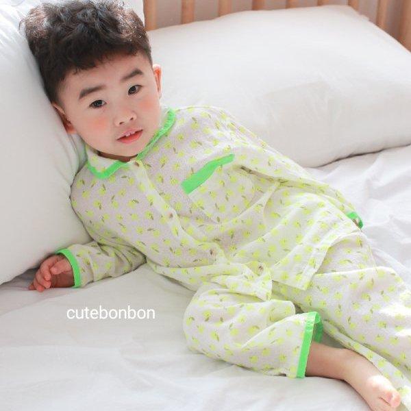 큐트봉봉KC 형광사과파자마세트(형광노랑)*S~XL*[아기/아동/여아/남아/잠옷/파자마/봄신상]