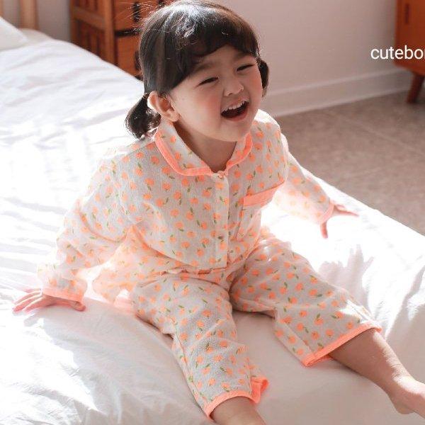 큐트봉봉KC 형광사과파자마세트(형광주황)*S~XL*[아기/아동/여아/남아/잠옷/파자마/봄신상]