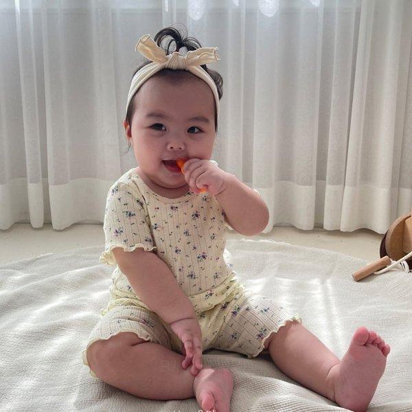 쿠잉키즈-L썸머꽃실내복세트 여름 아기실내복 유아내의 아동내복세트 반팔